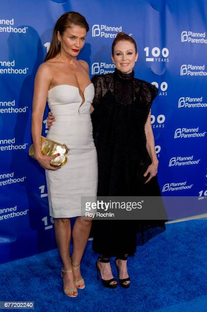 Helena Christensen and Julianne Moore attends the Planned Parenthood 100th Anniversary Gala at Pier 36 on May 2 2017 in New York City