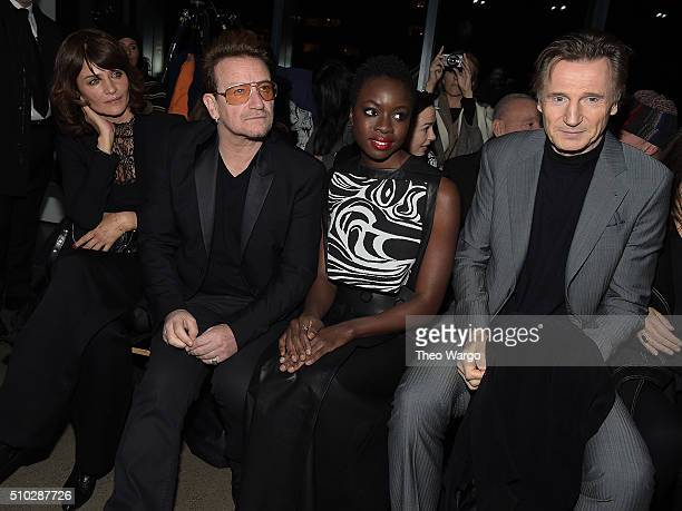 Helena Christensen Bono Danai Gurira and Liam Neeson attend Edun Front Row Backstage Fall 2016 New York Fashion Week on February 14 2016 in New York...
