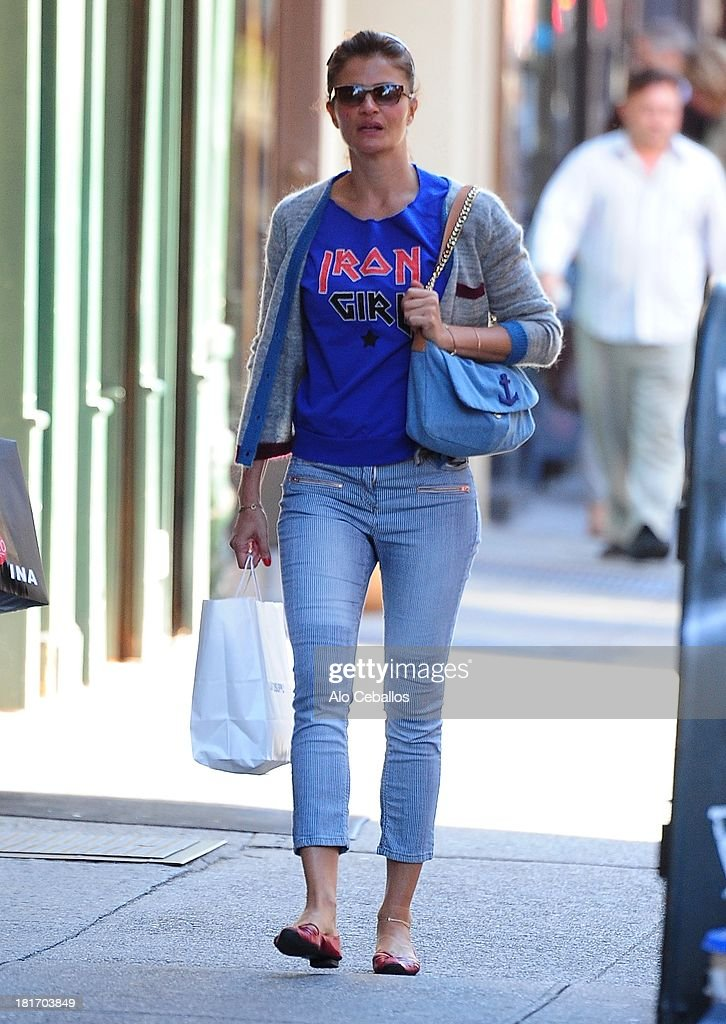 <a gi-track='captionPersonalityLinkClicked' href=/galleries/search?phrase=Helena+Christensen&family=editorial&specificpeople=202841 ng-click='$event.stopPropagation()'>Helena Christensen</a> is seen in Soho on September 23, 2013 in New York City.
