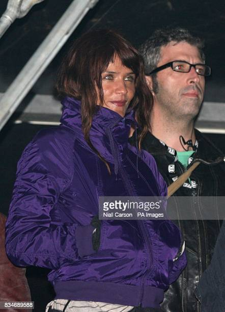 Helena Christensen watches Interpol perform during the Oxegen Festival 2008 at the Punchestown Racecourse Naas County Kildare Ireland