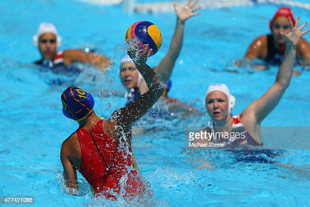 Helena Dalmases of Spain shoots during the Women's Water Polo Quarter Final match between Spain and Hungary during day five of the Baku 2015 European...