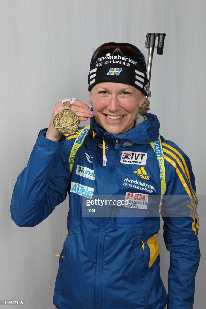 Helena Eckholm of Sweden poses with her bronze medal for the Women's 15km Individual during the IBU Biathlon World Championships at Chiemgau Arena on March 7, 2012 in Ruhpolding, Germany.