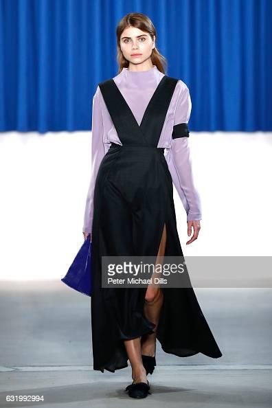 Helena Ershova walks the runway at the Perret Schaad show during the MercedesBenz Fashion Week Berlin A/W 2017 at Kaufhaus Jandorf on January 18 2017...