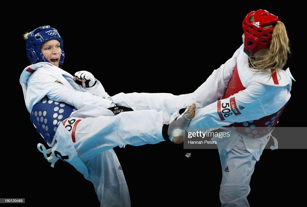 Helena Fromm of Germany competes against Carmen Marton of Australia in the Women's 67kg Taekwondo Bronze Medal Finals bout on Day 14 of the London...