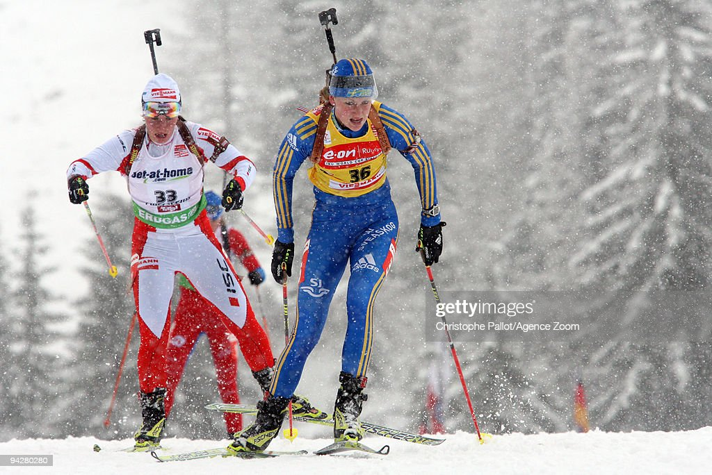 Helena Jonsson of Sweden takes 2nd place during the e.on Ruhrgas IBU Biathlon World Cup Women's 7.5 km Sprint on December 11, 2009 in Hochfilzen, Austria.