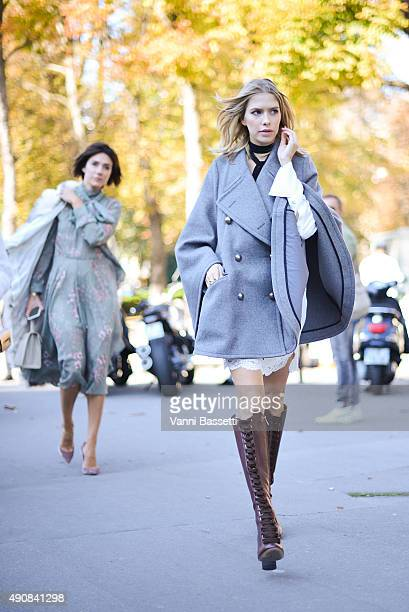 Helena Perminova leaves after the Chloe show at the Grand Palais during Paris Fashion Week SS16 on October 1 2015 in Paris France