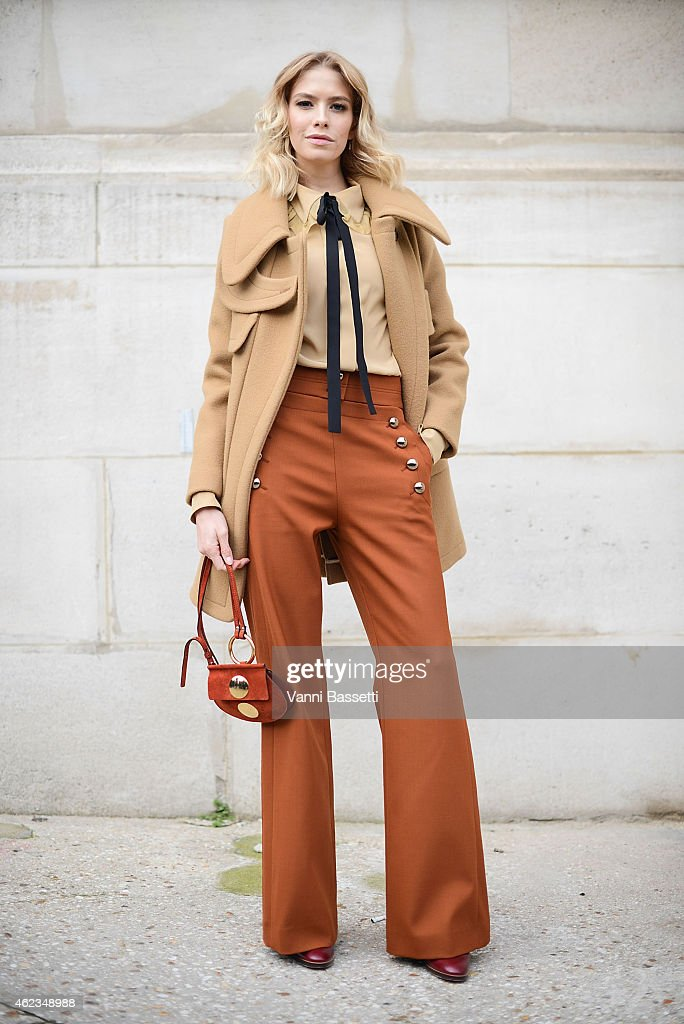 Helena Perminova poses wearing a Chloe total look during day 3 of Paris Haute Couture Spring Summer 2015 on January 27, 2015 in Paris, France.