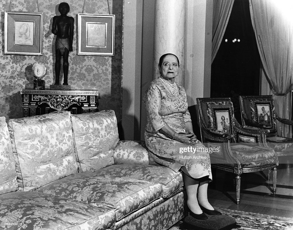 Helena Rubinstein (1870 - 1965), head of her own cosmetics empire, in her apartment in the Quai de Bechune in Paris. Original Publication: People Disc - HK0453