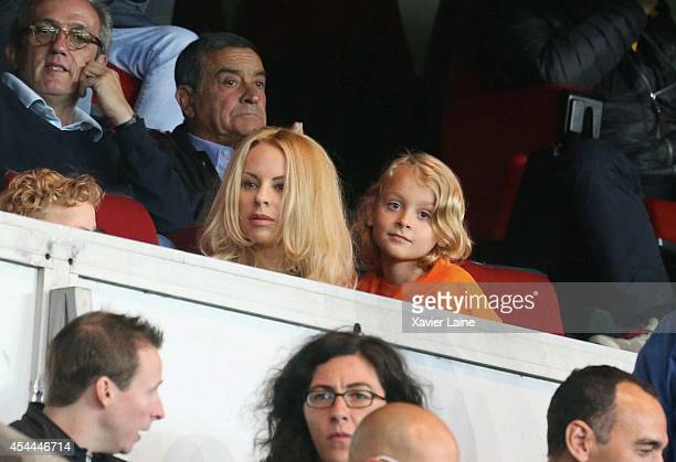 Helena Seger and her son Maximilian Ibrahimovic attend the French Ligue 1 between Paris SaintGermain FC and AS SaintEtienne at Parc Des Princes on...