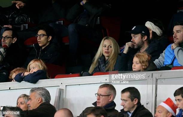 Helena Seger attend with her kids the French Ligue 1 between Paris SaintGermain FC and Montpellier Herault SC at Parc Des Princes on December 20 2014...