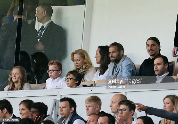 Helena Seger Olof Mellberg and Zlatan Ibrahimovic attend the the French Ligue 1 game between Paris SaintGermain FC and Stade de Reims at Parc Des...