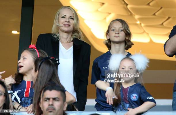 Helena Seger wife of Zlatan Ibrahimovic and son Maximilian Ibrahimovic attend the French League 1 match between Paris SaintGermain and Stade Malherbe...