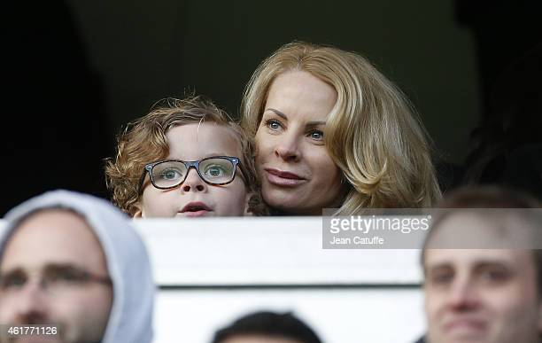 Helena Seger wife of Zlatan Ibrahimovic and their son Vincent Ibrahimovic attend the French Ligue 1 match between Paris SaintGermain FC and Evian...