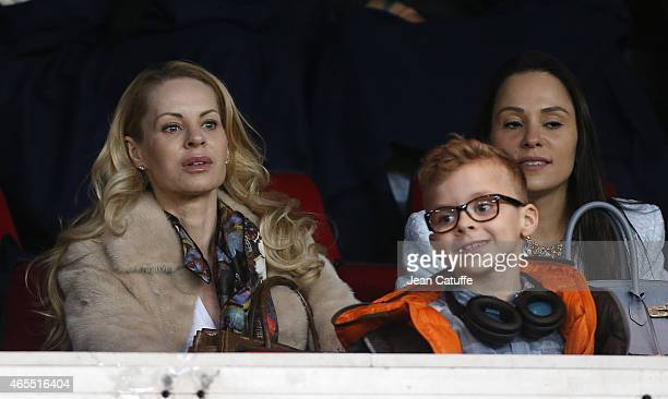 Helena Seger wife of Zlatan Ibrahimovic and their son Vincent Ibrahimovic attend the French Ligue 1 match between Paris SaintGermain FC and RC Lens...