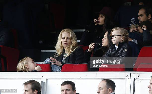 Helena Seger wife of Zlatan Ibrahimovic and their sons Maximilian Ibrahimovic and Vincent Ibrahimovic attend the French Ligue 1 match between Paris...