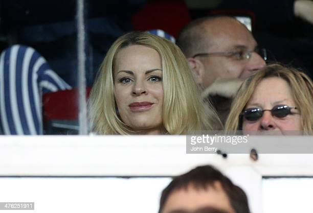 Helena Seger wife of Zlatan Ibrahimovic looks on during the Ligue 1 match between Paris SaintGermain FC and Olympique de Marseille at Parc des...