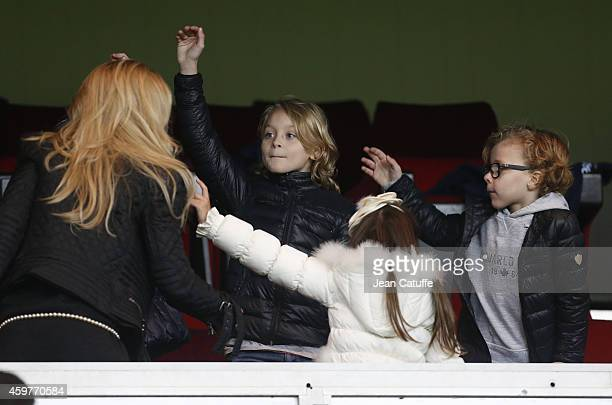 Helena Seger wife of Zlatan Ibrahimovic of PSG and their sons Maximilian Ibrahimovic and Vincent Ibrahimovic attend the French Ligue 1 match between...