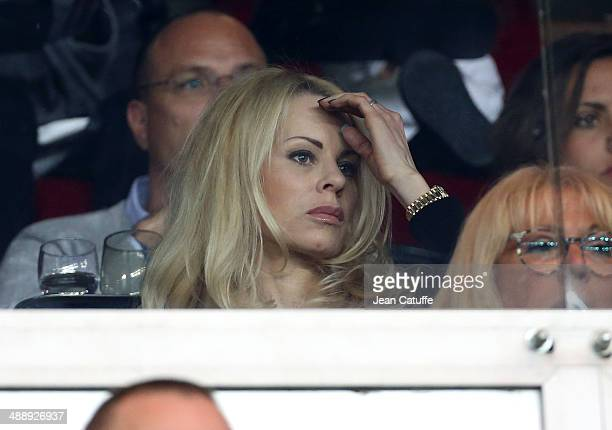 Helena Seger wife of Zlatan Ibrahimovic of PSG attends the french Ligue 1 match between Paris SaintGermain FC and Stade Rennais FC at Parc des...