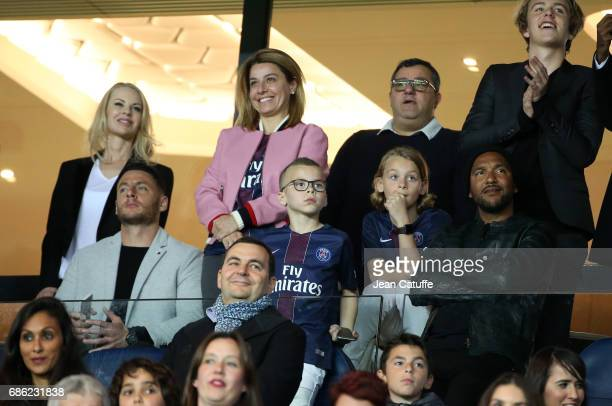 Helena Seger wife of Zlatan Ibrahimovic sports agent Mino Raiola above them Zlatan's sons Vincent Ibrahimovic and Maximilian Ibrahimovic Olivier...