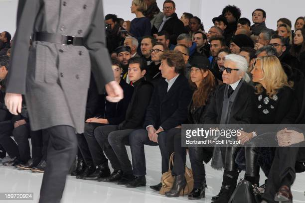 Helene Arnault Karl Lagerfeld Narjiss Cluzet Francois Cluzet and Peter Brant Jr attend the Dior Homme Men Autumn / Winter 2013 show as part of Paris...