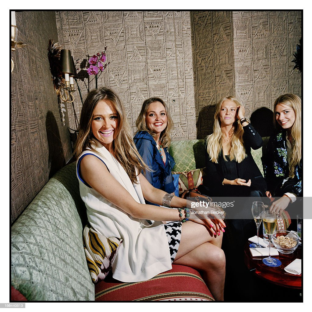 Helene Asquith, Gabriela Asquith and Lady Natasha Howard are photographed at 5 Hertford Street, which is home to the nightclub Loulou's for Vanity Fair Magazine on June 11, 2012 in London, England.