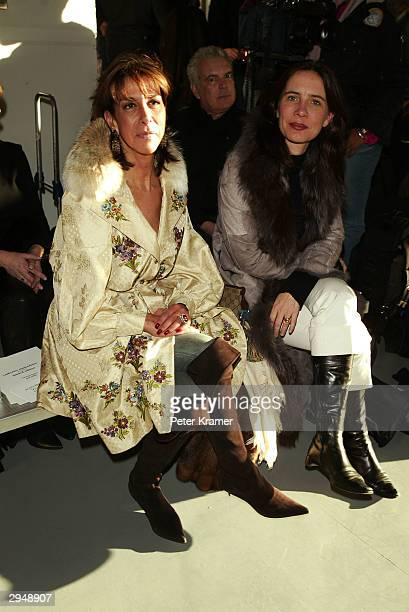 Helene Benhamou of Dior and Carole Schmitz at Yama Press attends the Catherine Malandrino fashion show during Olympus Fashion Week February 8 2004 in...