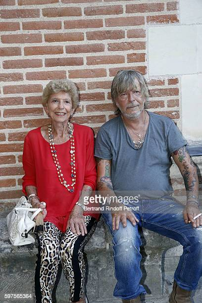Helene Carrere d'Encausse and Singer Renaud attend the Diner Party at 'Chateau du Clos Lucebefore 21th 'La Foret Des Livres' Book Fair on August 27...