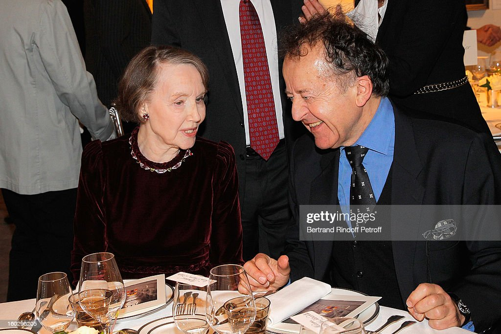 Helene David-Weill (L) and Jean-Pierre Cuzin attend a dinner in honor of Helene David-Weill, who presided through 1994 - 2012 Les Arts Decoratifs, one of the largest decorative arts museums in the world, at Sotheby's on January 28, 2013 in Paris, France.