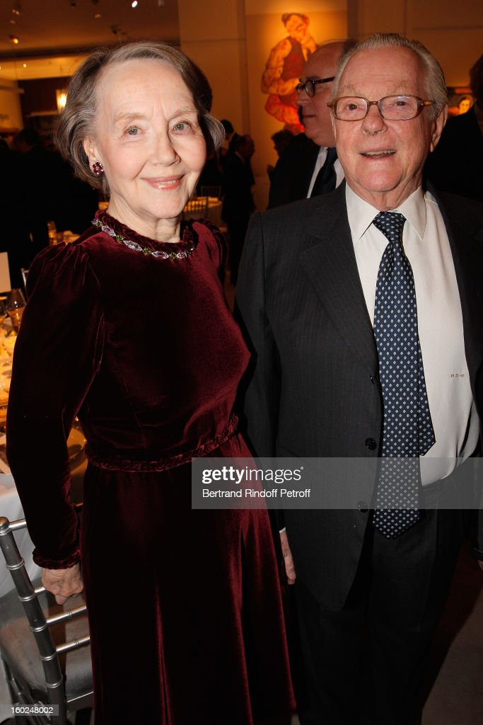 Helene David-Weill (L), who presided through 1994 - 2012 Les Arts Decoratifs, one of the largest decorative arts museums in the world, and her husband Michel David-Weill attend a dinner in honor of Helene David-Weill at Sotheby's on January 28, 2013 in Paris, France.