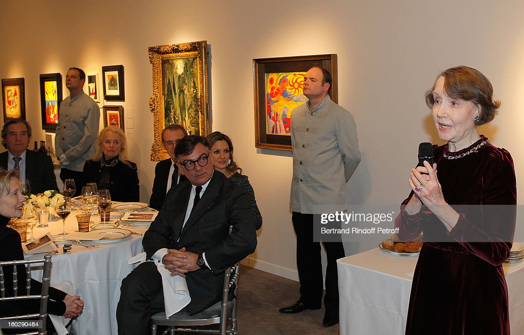 Helene David-Weill (R), who presided through 1994 - 2012 Les Arts Decoratifs, one of the largest decorative arts museums in the world, delivers a speech during a dinner in her honor at Sotheby's on January 28, 2013 in Paris, France.