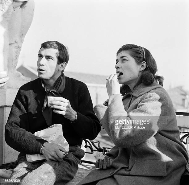 Helene De France On Honeymoon In Venice A Venise sur un bateau de croisière en extérieur pour le tournage de son film 'Saiton jamais' le réalisateur...