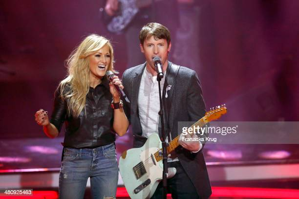 Helene Fischer and James Blunt perform at the Echo Award 2014 show on March 27 2014 in Berlin Germany