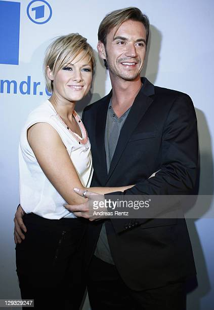 Helene Fischer and partner Florian Silbereisen attend the after show party to the 'Das Herbstfest der Abenteuer' music show on October 15 2011 in...