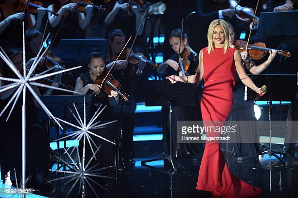Helene Fischer performs during the 'Die schoensten Weinachtshits' TV Show at Bavaria Filmstudios on December 2 2015 in Munich Germany