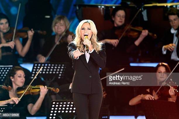 Helene Fischer performs on stage at the last broadcast of the Wetten dass tv show on December 13 2014 in Nuremberg Germany