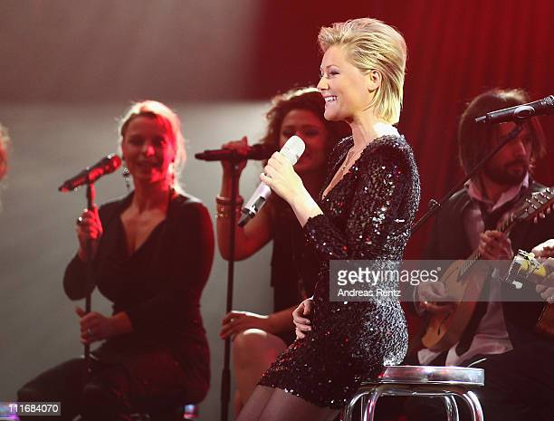 Helene Fischer performs on stage during the 'Deutscher Live Entertainment Award PRG LEA 2011' at the Festhalle on April 5 2011 in Frankfurt am Main...
