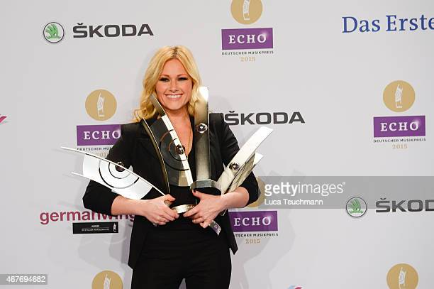 Helene Fischer poses with her prizes at the Echo Award 2015 winners board on March 26 2015 in Berlin Germany
