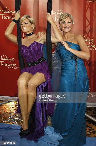 Helene Fischer unveils her wax figure during the 'Das Herbstfest der Abenteuer' music show on October 15 2011 in Chemnitz Germany