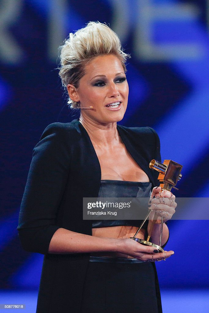 Helene Fischer wins the award for Most Popular German Music Act during the Goldene Kamera 2016 on February 6, 2016 in Hamburg, Germany.