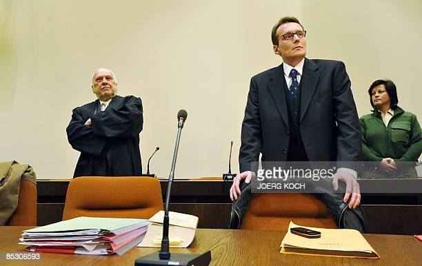 Helg Scarbi dubbed the 'Swiss Gigolo' and his lawyer Egon Geis wait at court for the start of his trial on March 9 2009 in Munich southern Germany...
