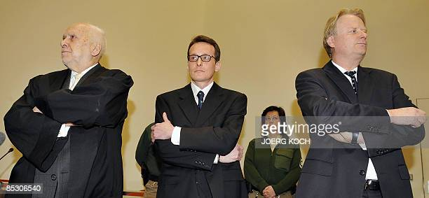 Helg Scarbi dubbed the 'Swiss Gigolo' and his lawyers Egon Geis and Till Gonterweiler wait at court for the start of his trial on March 9 2009 in...