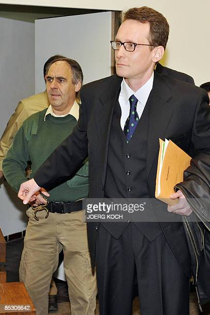 Helg Scarbi dubbed the 'Swiss Gigolo' arrives at court for the start of his trial on March 9 2009 in Munich southern Germany where he is accused of...