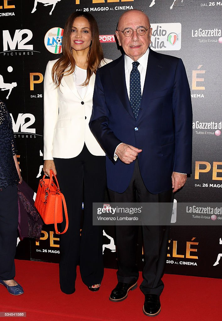 Helga Costa and <a gi-track='captionPersonalityLinkClicked' href=/galleries/search?phrase=Adriano+Galliani&family=editorial&specificpeople=618271 ng-click='$event.stopPropagation()'>Adriano Galliani</a> attend the 'Pele' Red Carpet In Milan on May 26, 2016 in Milan, Italy.