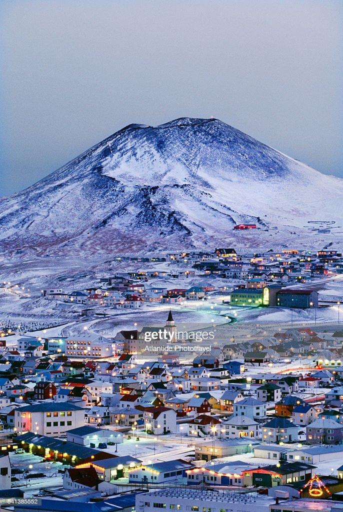 Helgafell Volcano over Heimaey