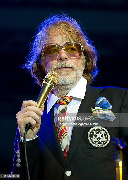 Helge Schneider performs on stage at his birthday during his concert 'Rettung Naht' at IFA Sommergarten on August 30 2012 in Berlin Germany