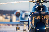 Helicopter and Business Jet front view