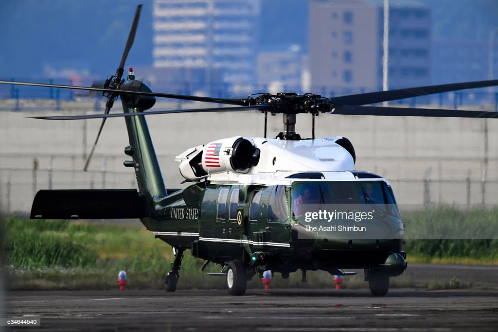 A helicopter carrying U.S. President Barack Obama land at the Hirosihma Heliport on the way to the Hiroshima Peace Memorial Park on May 27, 2016 in Hiroshima, Japan. Obama becomes the first sitting U.S. president to visit Hiroshima, where the first atomic bomb was dropped in 1945 at the end of World War II.
