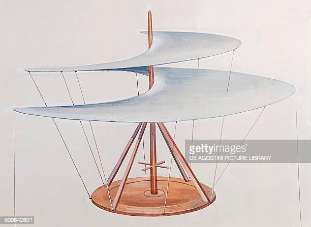 Helicopter drawing machines of Leonardo da Vinci