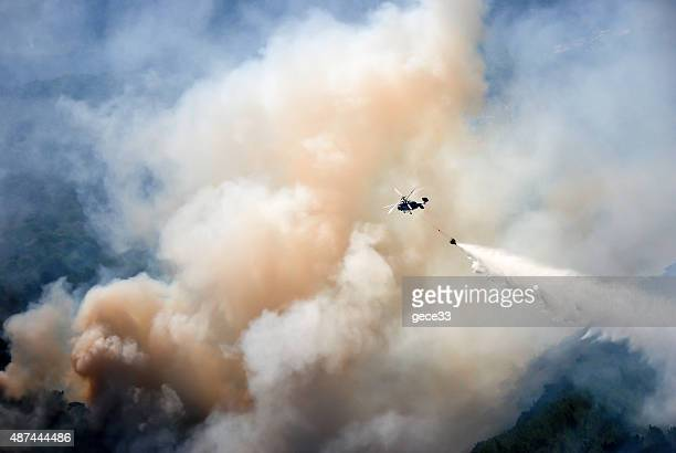 Helicopter extinguish a forest fire