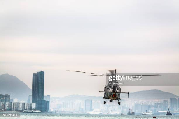 Hélicoptère voler, Hong Kong.